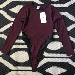 Fabletics Kathleen Body Suit in Maroon & Black